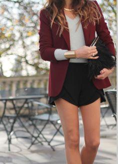 shorts blazer shirt necklace jacket jewels black coat casual chic cardigan maroon maroon blazer button up classy