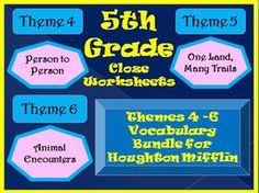 Grade Cloze Worksheet Half Year Bundle for Houghton MifflinHarcourt Fifth Grade, Themes 4-5-6