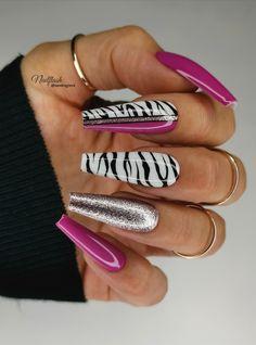 Zebra Nail Designs, Gel Nail Designs, Beauty Room, Hair Beauty, Hot Nails, Shellac, Nail Arts, Manicures, Nail Inspo
