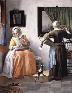 Woman Reading a Letter, with a Maidservant by Gabriel Metsu, ca. 1663