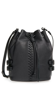 Loving this edgy-yet-elegant bucket bag from Rebecca Minkoff. A slouchy silhouette furthers the attitude, while an optional crossbody strap adds both style and versatility.