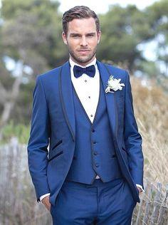 New Arrival One Button Blue Groom Tuxedos Groomsmen Mens Wedding Suits Formal Dress (Jacket+Pants+Vest+Tie) NO:159