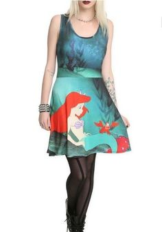 The Little Mermaid ARIEL NeW Fit & Flare Skirt Dress Jr XL Extra Large Sebastian #Disney #FlareSkirt #Casual