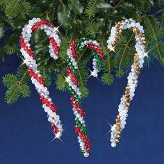 Nostalgic Christmas Beaded Crystal Ornament Kit-Crystal Candy Canes Makes 3 845227050793 Beaded Christmas Decorations, Christmas Ornament Crafts, Beaded Ornaments, Vintage Ornaments, Christmas Tree Ornaments, Holiday Crafts, Christmas Wreaths, Christmas Crafts, Christmas Parties