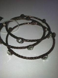 $7.50 Lot of 3 Bronze Rope Design Metal and Cubic Zirconia Bangel Bracelet Cuff | eBay