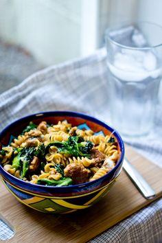 chorizo and kale spicy pasta bowl