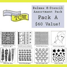TCW 8-Stencil Assortment: Pack A available at Artistic Artifacts