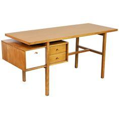 Early Milo Baughman Birch Desk