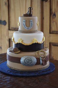 Fondant covered wild west cowboy themed cake