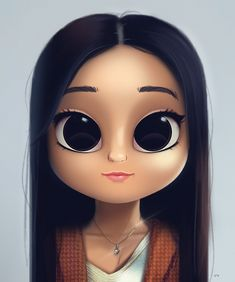 Cartoon, Portrait, Digital Art, Digital Drawing, Digital Painting, Character Design, Drawing, Big Eyes, Cute, Illustration, Art, Girl, Doll, Hair, Straight Hair