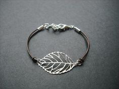 skeleton leaf bracelet by Lana0Crystal on Etsy, $19.00