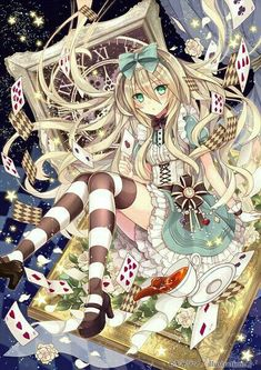 Anime picture with alice in wonderland alice (wonderland) nozomi fuuten long hair single tall image blush looking at viewer breasts fringe green eyes sitting holding hair between eyes zettai ryouiki eyelashes :o high heels puffy sleeves lens flare Anime Chibi, Manga Anime, Film Anime, Kawaii Anime Girl, Anime Art Girl, Manga Girl, Anime Girls, Anime Angel, Alice Anime