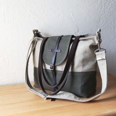 2-Tone Tote in Hemp and Dark Olive with detachable shoulder strap. $110.00, via Etsy.-infusion