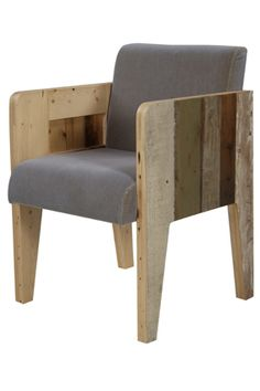Piet Hein Eek scrapwood chair with velours: grey or green unlacquered & fixated & high gloss lacquered 60x57x83 (48)cm.
