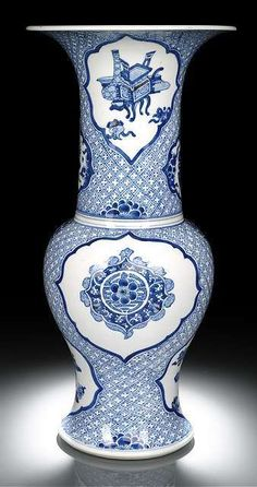 A blue and white with copper-red porcelain yenyen vase, China, Kangxi period