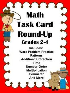 Math Task Cards:  This is a set of updated math task cards. There are four task cards per page.    These task cards can be used in a center, station, or during your math class.  The students pick a task card and answer the problem.  Just print, cut, and laminate and you can use this resource time and time again.