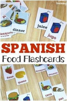 Pick up these printable Spanish food flashcards to help kids learn common food words in espanol! #spanish #learning #education #homeschooling #homeschool #preschool