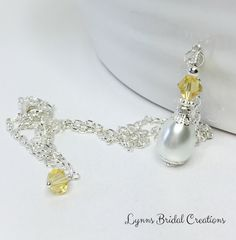 Bridesmaid Necklace White Pearl Necklace by LynnsBridalCreations