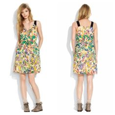 """Madewell Floral Croquet Silk Dress XS A rare gem of a dress with pretty pleats, airy layers and an old-school watercolor floral with vintage charm. Silk georgette. Sleeveless. Fitted bodice. Pleated skirt. On-seam pockets. Fully lined. Falls above knee, 35 3/4"""" from shoulder. Import. Dry clean. Madewell Dresses"""