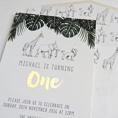 Safari jungle party invites with gold foil.