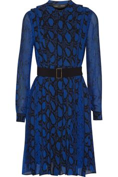 Proenza Schouler|Pleated printed silk-chiffon dress|NET-A-PORTER.COM