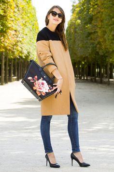 thebrunette longchamp manteau beige et noir 5