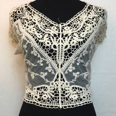 """Sheer lace&crochet crop New with boutique tags, hand wash, boxy lace and crochet crop top 46"""" around and 16.5"""" long Tops Crop Tops"""