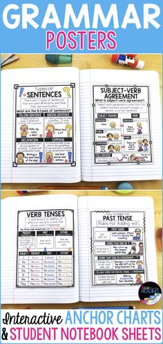 Grammar Posters and Grammar Anchor Charts! Perfect for teaching grammar and supporting grammar activities for your kids in writing centers or writer's workshop. Types of Sentences Poster Teaching Grammar, Grammar Activities, Teaching Writing, Elementary Teaching, Upper Elementary, Grammar Games, Literacy Games, Writing Lessons, Writing Ideas