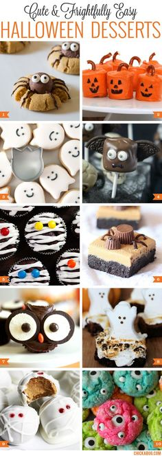 Cute and easy Halloween desserts! Gotta make some of these for my kids' school Halloween party! Homemade Halloween Treats, Halloween Mignon, Dessert Halloween, Soirée Halloween, Halloween Goodies, Halloween Food For Party, Halloween Birthday, Halloween Deserts Easy, Holloween Desserts