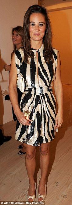 Pippa in a dazzling zebra print dress