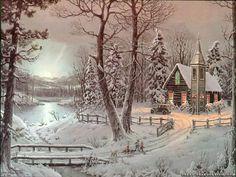 christmas scenes pictures | scene river scene snow cabin snow road yosemite national park