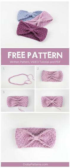 Simple and easy to make crochet headband for babies. Free pattern and video tuto. - Crochet and Knitting Patterns Simple and easy to make crochet headband for babies. Free pattern and video tuto. - Crochet and Knitting Patterns Crochet Simple, Love Crochet, Crochet For Kids, Crochet Flowers, Crochet Lace, Fabric Flowers, Easy Crochet Headbands, Crochet Headband Pattern, Crochet Baby Headbands