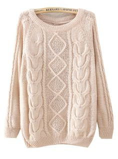 Beige Long Sleeve Diamond Patterned Knit Sweater - Sheinside.com.  This site has the best sweaters!