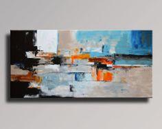 ABSTRAKTE Malerei Schwarz Grau Orange Malerei von Art70studio