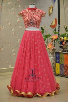 Pink lehenga with golden embroidery
