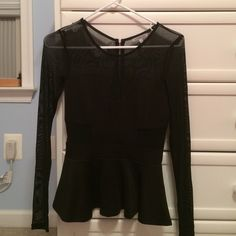 Charlotte Russe Shirt Black peplum shirt with sheer sleeves and zipper down the back. Great for pairing with jeans for a night out ✨ Charlotte Russe Tops