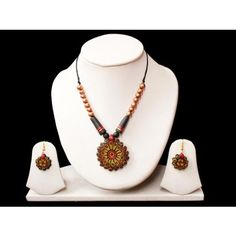 Terracotta designer jewellery-Earthen Sunflower - Online Shopping for Necklaces by TrendyWindy