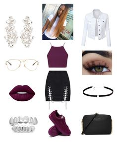 """Untitled #188"" by mostroyaltrin ❤ liked on Polyvore featuring Kate Spade, Topshop, Lime Crime, Ray-Ban, MICHAEL Michael Kors, Carbon & Hyde and LE3NO"
