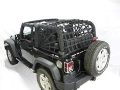 Dirtydog 4X4 Jeep Accessories - Netting for Jeep Wrangler JK 2 Door 2007-up 3 pc kit Spiderweb style - Color: Black $319.99