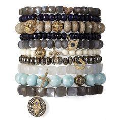 moonstone hamsa bracelet - boho chic - women - Gorsuch (£1,865) ❤ liked on Polyvore featuring jewelry, bracelets, boho jewellery, bohemian style jewelry, boho jewelry, bohemian jewelry and bohemian bangles