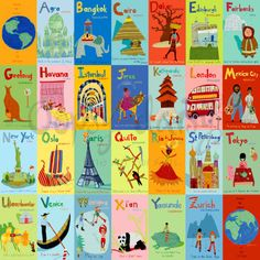 travel themed nursery- A-Z World Canvas Wall Art- would love as a book (Oopsy Daisy)