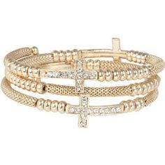 Heirloom Finds Crystal Sideways Cross Coil Wrap Bracelet of Gold Tone Mesh  http://electmejewellery.com/jewelry/bracelets/wrap/heirloom-finds-crystal-sideways-cross-coil-wrap-bracelet-of-gold-tone-mesh-com/