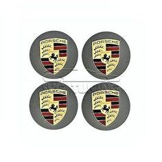 Ступичные крышки в литые диски Porsche Cayenne, серые с золотым логотипом, в наличие и под заказ