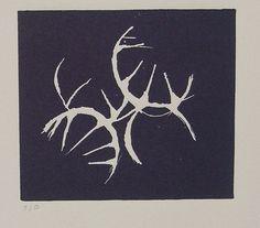 Hachures - Linocut- Dark blue - image close up by idmezzotint