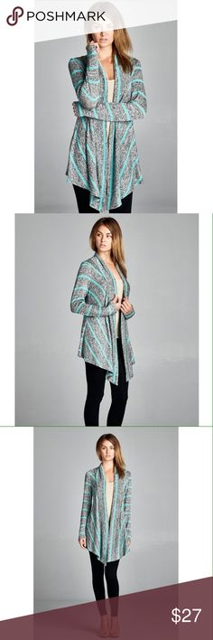 NEW! Heather Grey Cardigan with Mint Stripes 55% polyester 40% rayon 5% spandex. 4th pic is just to show example of the back - this listing is for the mint colored stripes (no other colors available at this time). No trades. Jackets & Coats