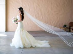 "A swoon-worthy look at Bride Sunshine's glamorous Huntington Beach wedding in a custom Lauren Elaine ""Aurelia"" gown. See the full blog post and more gorgeous photos at http://blog.lauren-elainedesigns.com/2015/09/28/sunshines-happily-ever-after-in-huntington-beach/"
