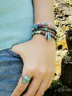 #boho#gemstones#silver#ring#bracelets