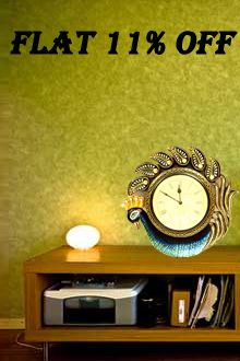 Exclusive Offer! Brighten up your room with gorgeous Peacock Hand painted clock. Flat 11% off. Visit: goo.gl/anmkTw