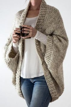 Knitting Pattern for Easy 18 Hour Cardigan - Cocoon Cardigan is made in about 1 . Knitting Pattern for Easy 18 Hour Cardigan - Cocoon Cardigan is made in about 1 . , Knitting Pattern for Easy 18 Hour Cardigan - Cocoon cardigan kni. Cardigan En Maille, Cable Knit Hat, Cocoon Cardigan, Oversized Cardigan, Super Bulky Yarn, How To Purl Knit, Knit Purl, Plus Size Sweaters, Sweater Knitting Patterns