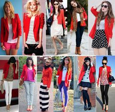 How To Wear Red Blazer Wardrobes 55 Ideas Look Blazer, Casual Blazer, Blazer Outfits, Blazer Dress, Casual Outfits, Work Outfits, How To Wear Headbands, Linen Jackets, Military Fashion